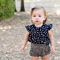 Fashion Blue Baby Suits/Baby Kerchief+  Dress+ Gingham Plaid Pant/ Baby Clothing 2016 New