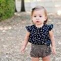 Moda Ternos Azul Bebê/Baby Lenço + Vestido + Calça Xadrez Gingham/Roupa Do Bebê 2016 Novo