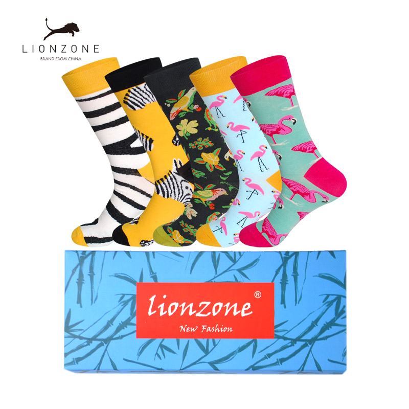 Mens Happy Socks Art Painting Flamingo Zebra Combed Cotton Funny Socks Chaussettes Homme Fantaisie 5Pairs/Lot Gift Box
