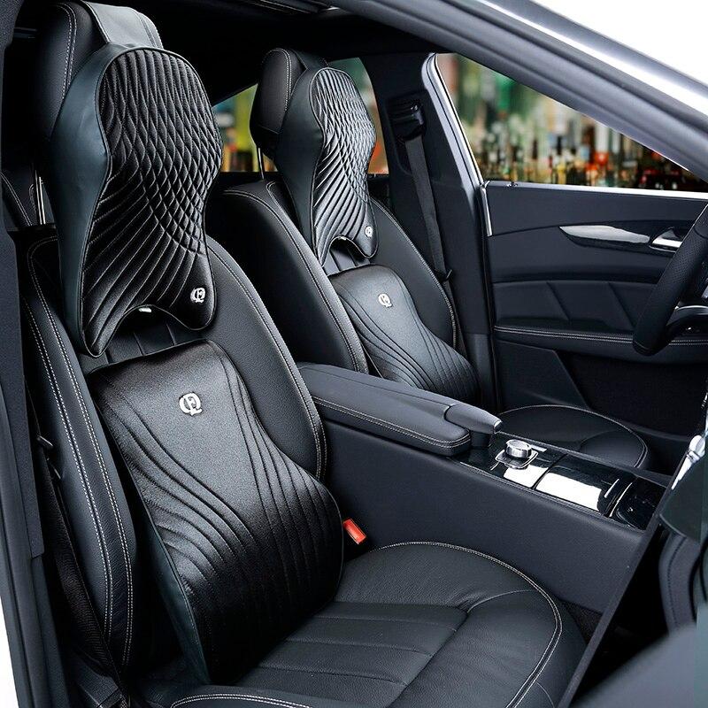 Memory Foam Cotton Car Headrest Neck Pillow Imitation Silk Fabric Waist Lumbar Support Sets Cushion For Auto Seat Accessories