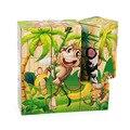 Macaco Dos Desenhos Animados do Transporte Escavadeira Caminhão Do Carro Brinquedos de Blocos de Madeira 9 pcs De Madeira Jigsaw Inteligência Educacional Para O Miúdo