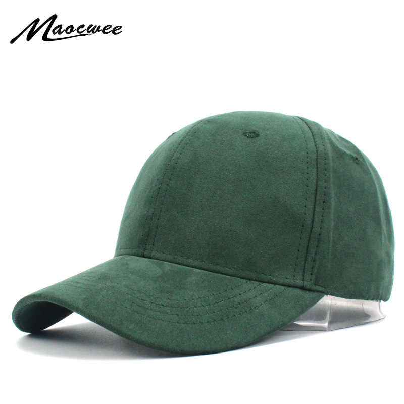 7bc7744c Women Men Baseball Caps Suede Solid Green Trucker Cap Casual Snapback  Fitted Hat For Girl Boy