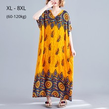 Plus Size 8XL 7XL 6XL Batwing Sleeves Summer Maxi Dress Vintage Print V Neck Bohemian Style Dresses Femme Robe Casual Clothing