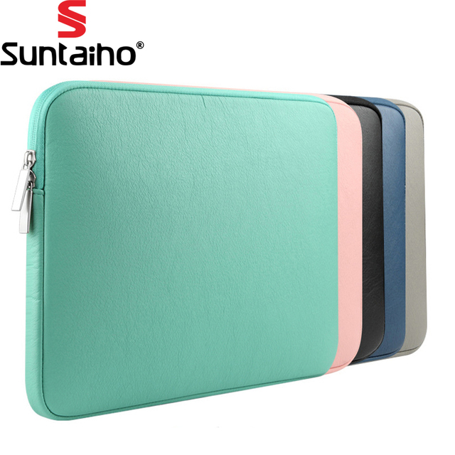 새로운 PU 가죽 방수 노트북 슬리브 가방 보호 지퍼 노트북 케이스 컴퓨터 커버 11 13 15 인치 맥북 에어 프로