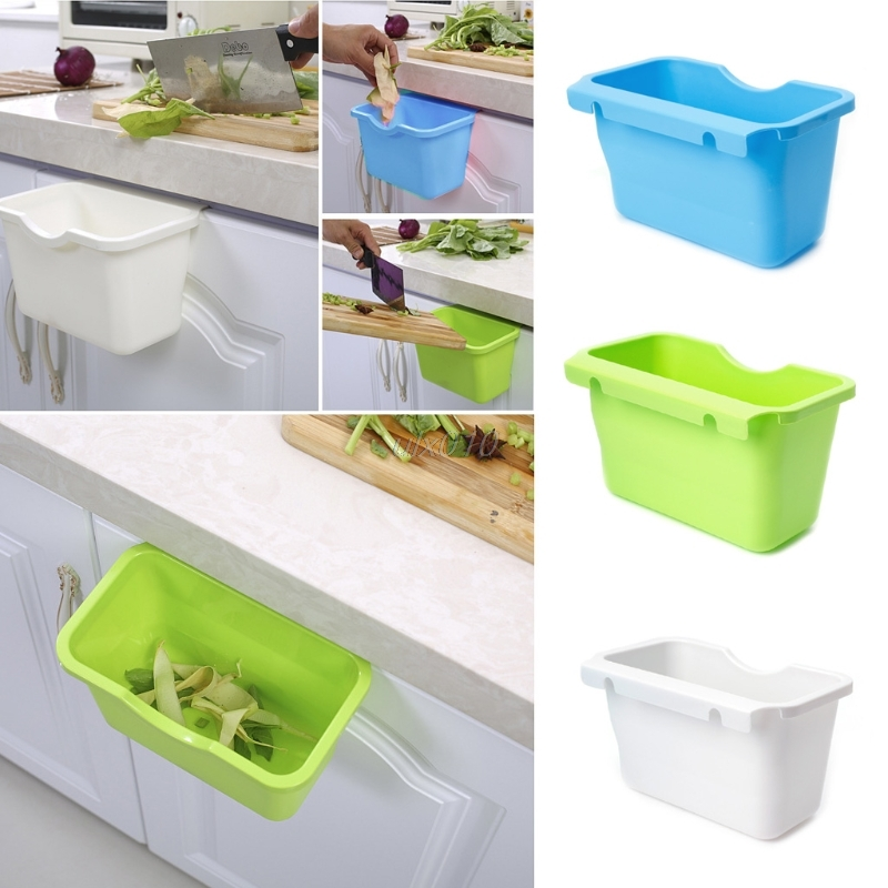 Plastic Kitchen Cabinet Door Hanging Trash Garbage Can Bin Rubbish Container Plastic Home Container S08 Drop Ship
