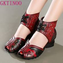 2019 Summer Women Shoes Thick With Heels Platform Genuine Leather Sandals Handmade Flower Cover Toes Comfortable Women Sandals(China)