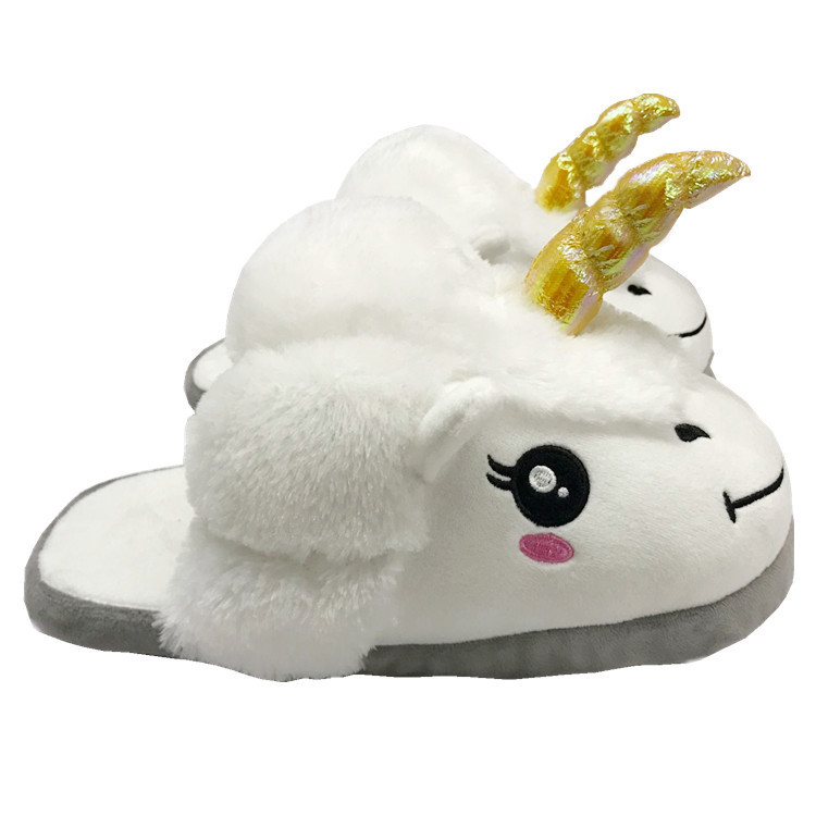 Adult unicorn home comfortable slippers female cartoon lovely fur unisex indoor shoes size 36 to 41