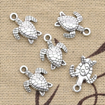 40pcs Charms Turtle Tortoise Sea 16x12mm Antique Bronze Silver Color Pendants DIY Craft Making Findings Handmade Tibetan Jewelry 50g 100g letters mixed charms pendants vintage antique bronze silver bracelets necklaces craft metal alloy diy jewelry making