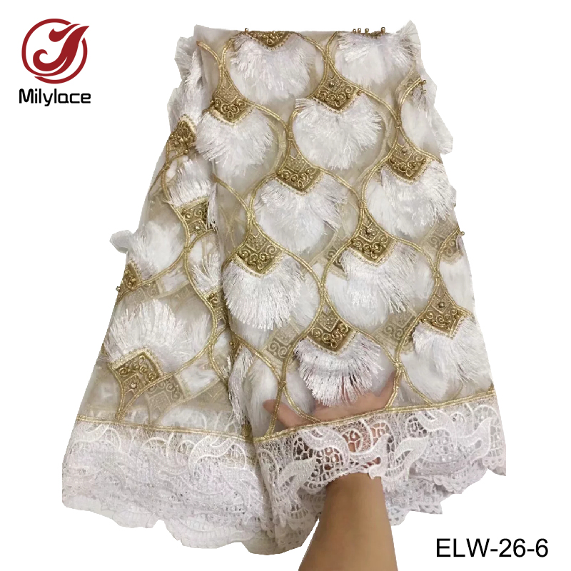 Fashion design white and gold french lace fabric 3d tulle lace fabric with big stones 5