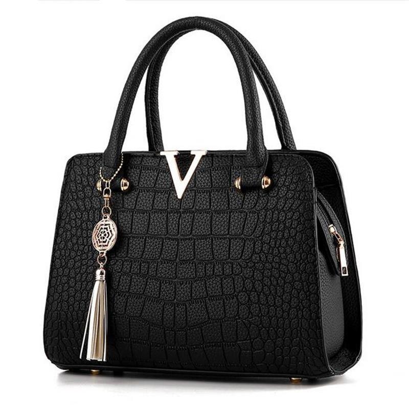 Donna moda in pelle di Coccodrillo V lettere Borse Del Progettista di qualità di Lusso di Spalla Della Signora Borsa con tracolla con frange Messenger Bag