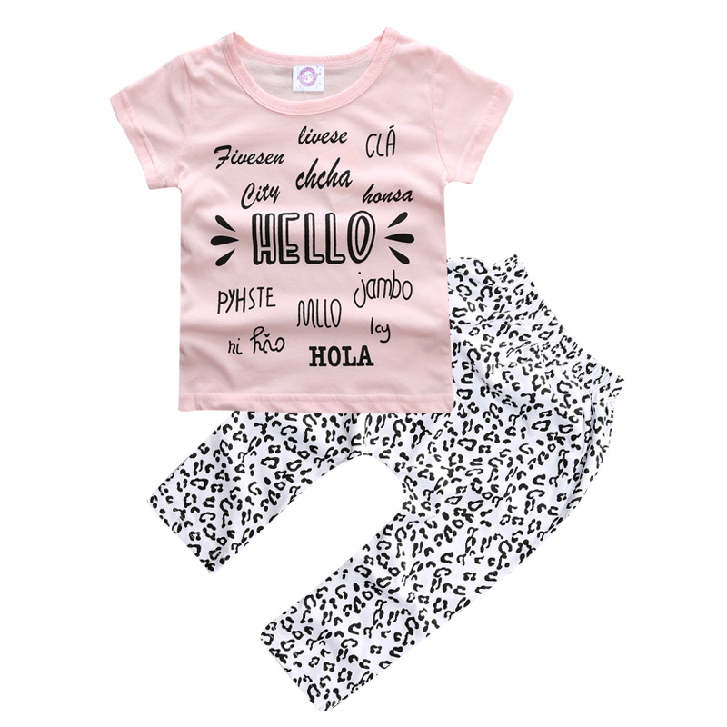 Cotton Baby boys short t-shirt + long pants 2 Pieces baby clothes children tracksuit summer baby boys girls clothing set