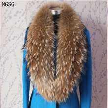 Натуральный меховой воротник шарф 80 см-120 см натуральный толстый длинный мех шарфы с мехом енота Женское зимнее пальто Теплый меховой воротник s