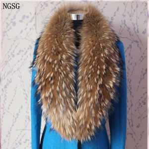 Image 1 - 2018 Natural Fur Collar Scarf 80 cm 120 cm Genuine 100% Thick Long Fur Raccoon Scarves Women Winter Coat Neck Warm Fur Collars