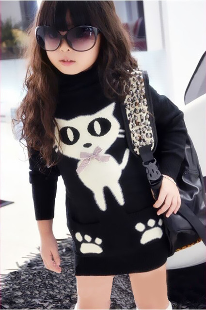 Kids Wool Turtleneck Sweaters With Pockets Animal Girls' Knitted Pullovers Camisola Das Meninas Sweater Dress For Children