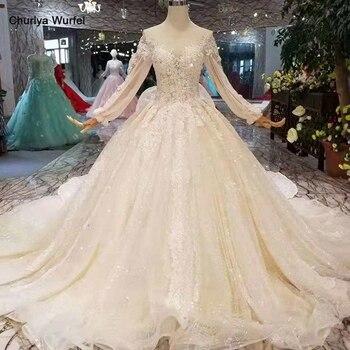 LS11014 los más nuevos vestidos de novia brillantes manga larga de tul ilusión o-cuello vestido de novia con tren envío gratis descuento mayorista