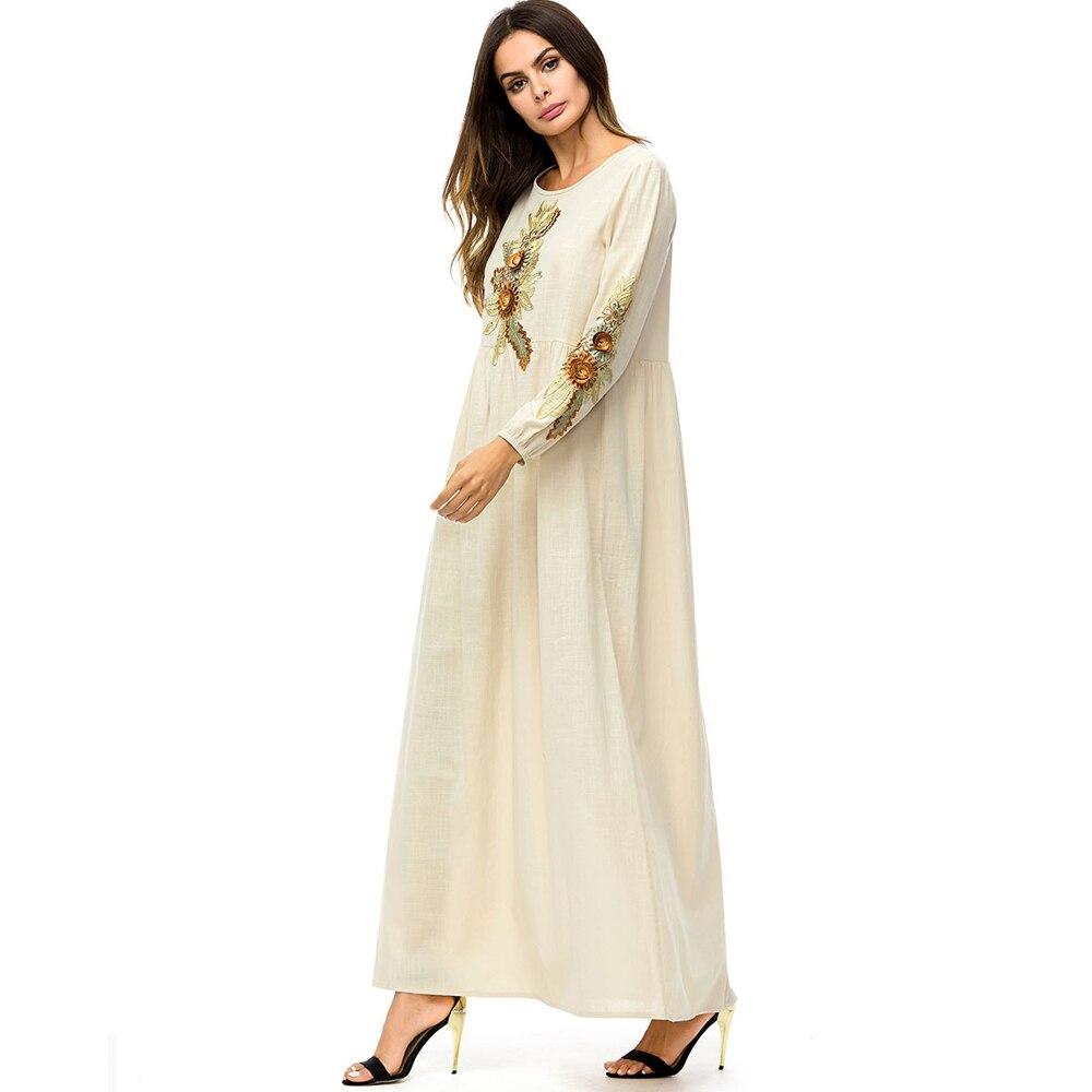 Medio Casual Larga Oriente Ee Eid Largo O cuello Moda Manga Europa Floral Musulmanes uu Vestido Mujeres Otoño Abaya Ramadán Photo De x7wOwIgq
