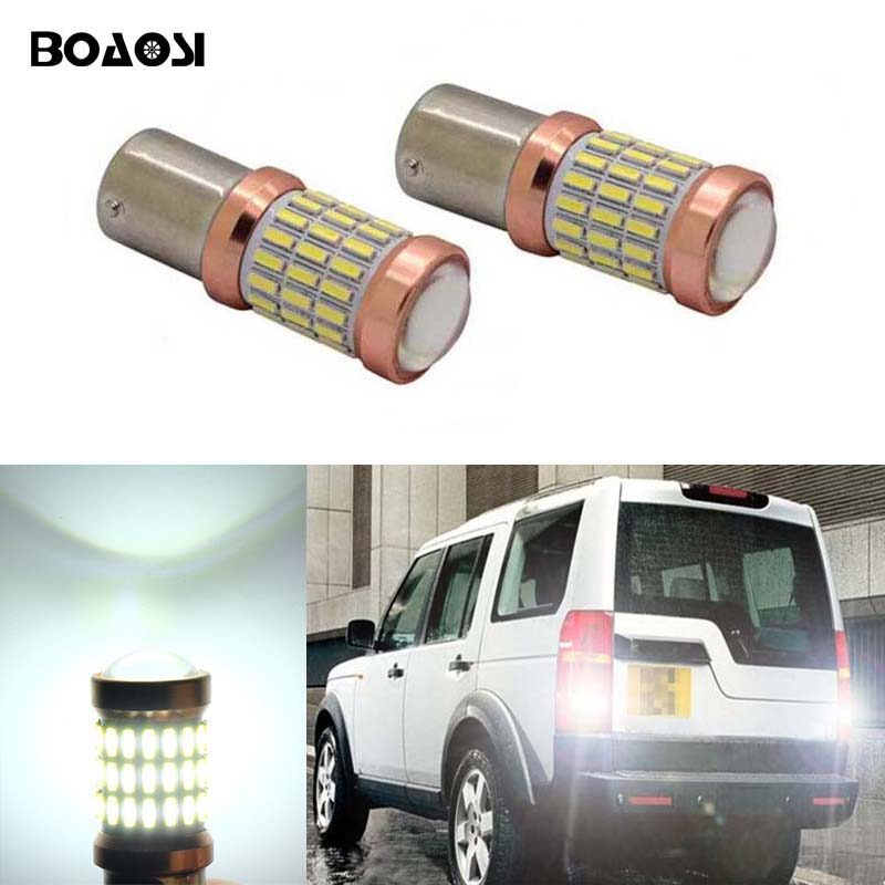 BOAOSI 2x Car lights White LED 60SMD 1156 S25 Backup Reverse Light Bulb For Land Rover Discovery 3 Range Rover Freelander for land rover range rover sport freelander 2 discovery 4 2006 2014 car styling led fog lights lamp crystal blue blue 12v