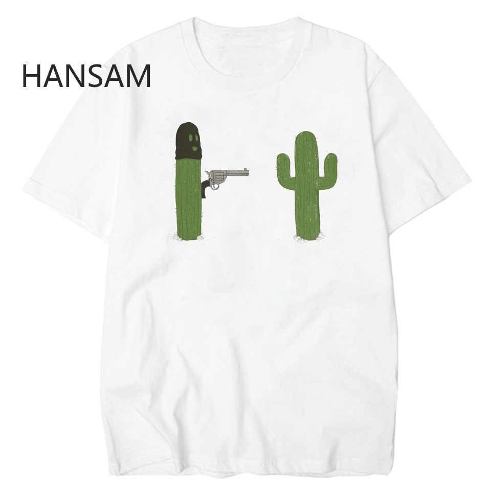 Cactus with Gun Men Collar T Shirt Basic Casual T-shirt Men  Short Sleeve Tshirt Men Funny Print Elastic Tee Shirt