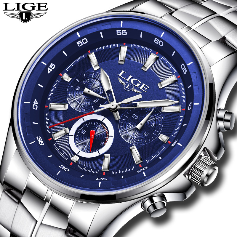 Top Brand Luxury LIGE Watch Men Business Waterproof Clock Mens Watches Fashion Casual Sport Quartz Wristwatch Relogio Masculino lige mens watches top brand luxury man fashion business quartz watch men sport full steel waterproof clock erkek kol saati box