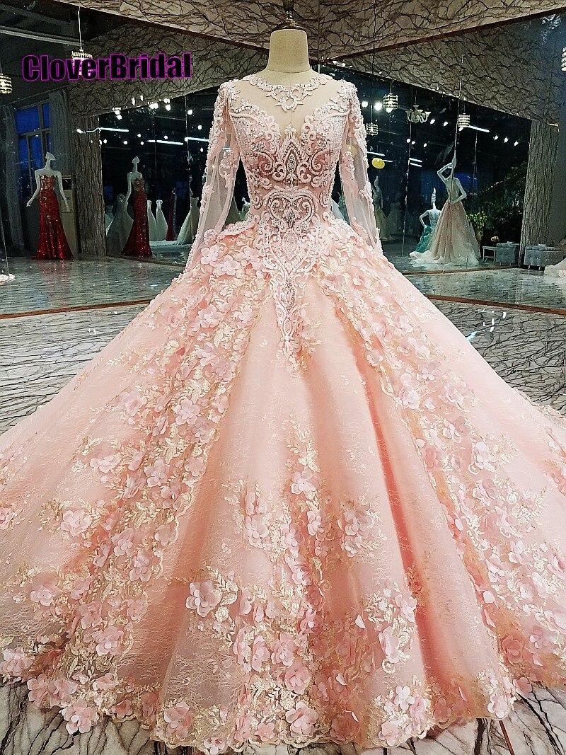 Us 4150 Cloverbirdal Libre Dadapter Manches Longues Rose Dentelle Robe De Mariee Princesse De Luxe Cristal Royal Train Flowers Pink In Wedding