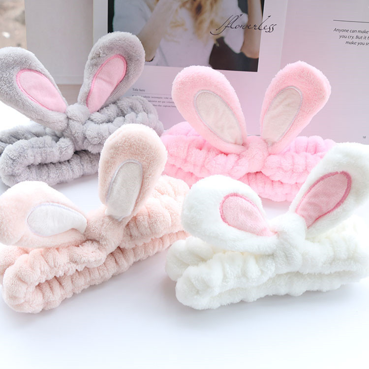 1pcs Cute Soft Rabbit Ears Women Hair Band Velvet Cartoon Cosmetic Wide Brimmed Headband Ornaments Multicolor Choice Girls