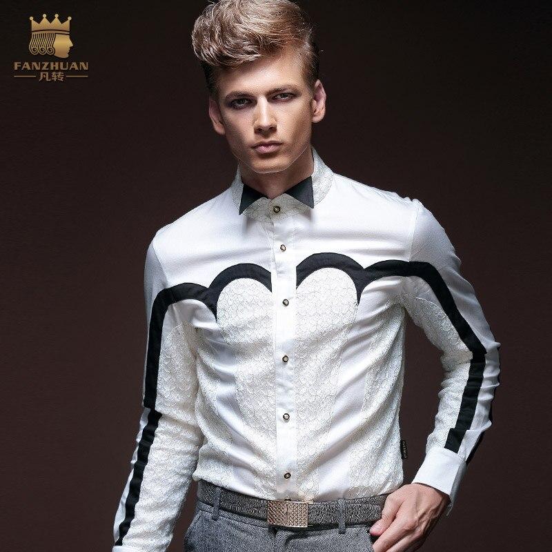 2018 Neue Herrenhemd Geometrische Spleißen Schwarz Und Weiß Gestickt Langärmelige Shirt Bankett Kleid Plus Size Kostüme SchöNer Auftritt