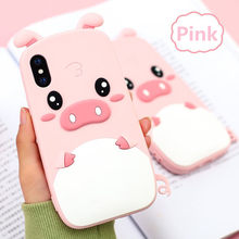 3D Cartoon Pink Pig Soft Silicone Phone Cases for iPhone XS Max XR Cover for iPhone 4 4S 5 5S 6 6S 7 8 Plus X for Samsung Case(China)