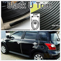 1M Black Car Interior Ven Side Exterior Molding Trim Grille Impact 6mm Door Decoration Strip Chrome