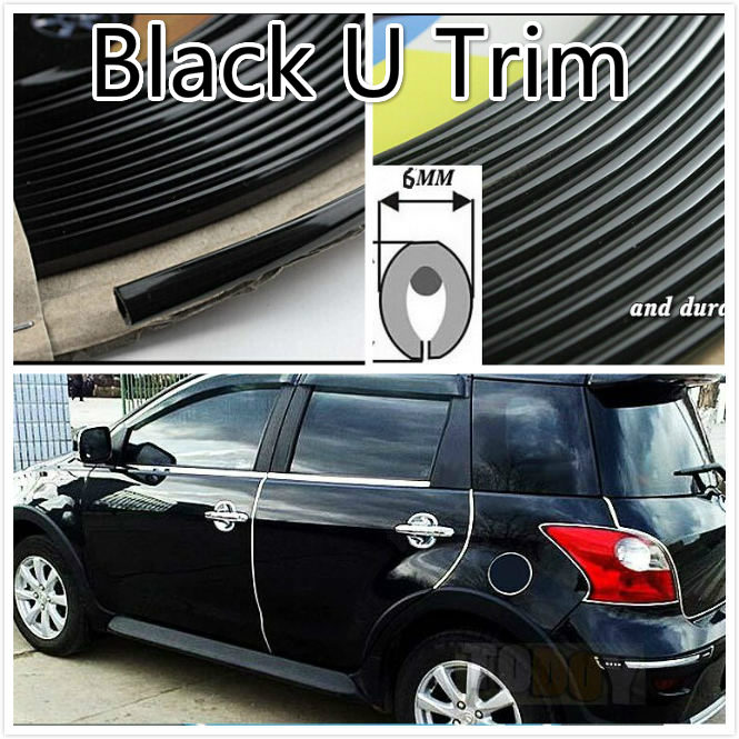 1M Black Car Interior Ven Side Exterior Molding Trim Grille Impact 6mm Door Decoration Strip Chrome Style U