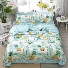 4Pcs Quality Luxury Version Summer Thin Quilt King Size Pineapple Print Air Conditioning Cool Quilt Sets For Home Travel(China)