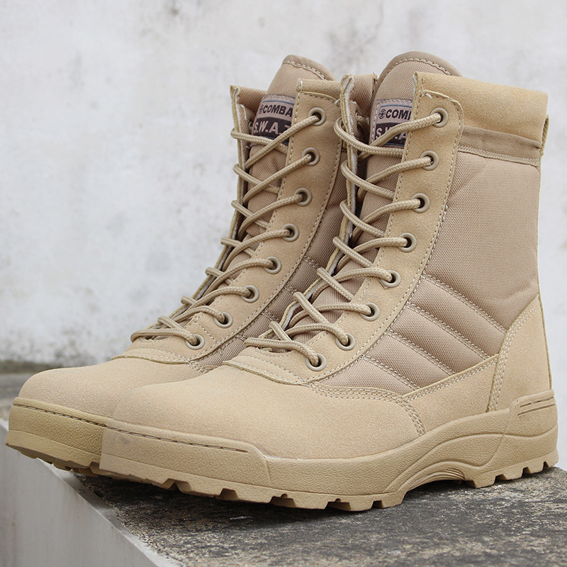 <font><b>Men</b></font> Desert Tactical Military Boots <font><b>Mens</b></font> Work Safty <font><b>Shoes</b></font> Zapatos De Mujer Army Boot Zapatos Ankle Lace-up Combat Boots Size 46 image