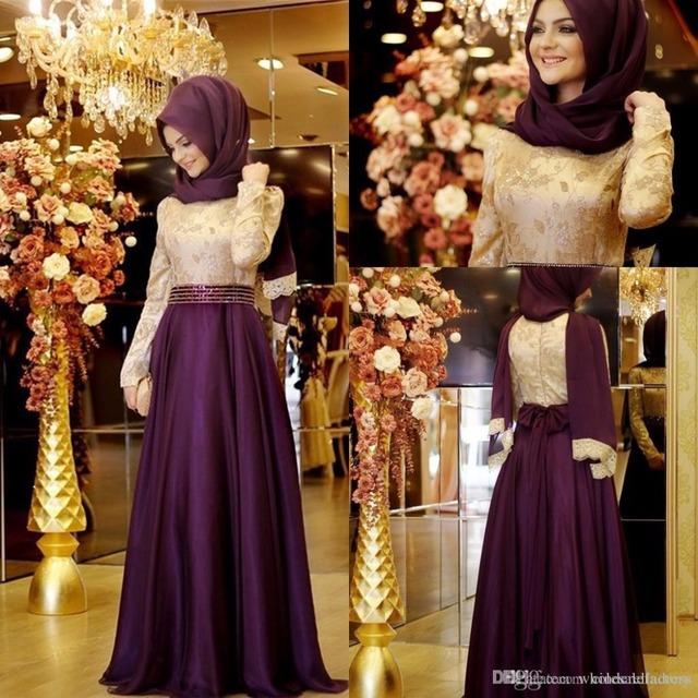 Vestido de fiesta de la vendimia 2016 Púrpura de Manga Larga hijab Musulmán Vestidos de Noche Apliques de Oro de Dubai Árabes vestidos de Noche Vestidos