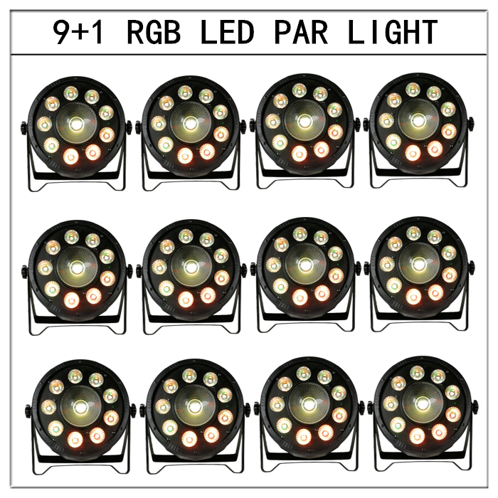 12pcs/ 9+1 rgb 3in1 led par light dmx 25 degree lens par led lights disco