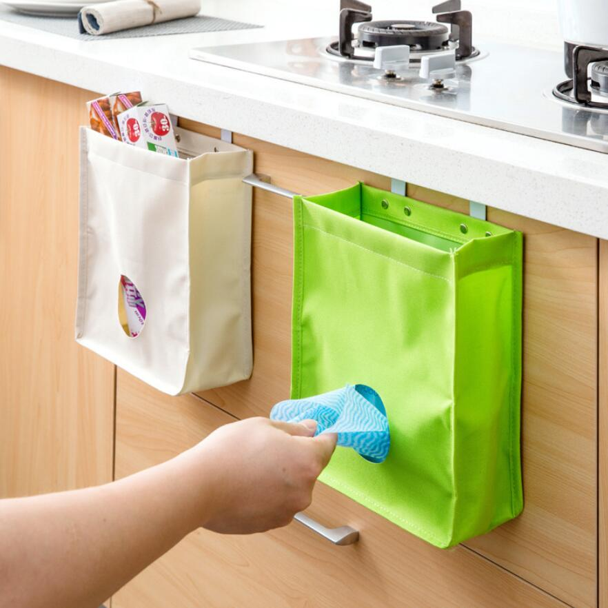 1pcs Rubbish Bags Hanging Holder Organizer Home Kitchen Garbage Storage Bag Trash Can Disposable Bag Organizer Bag Storage