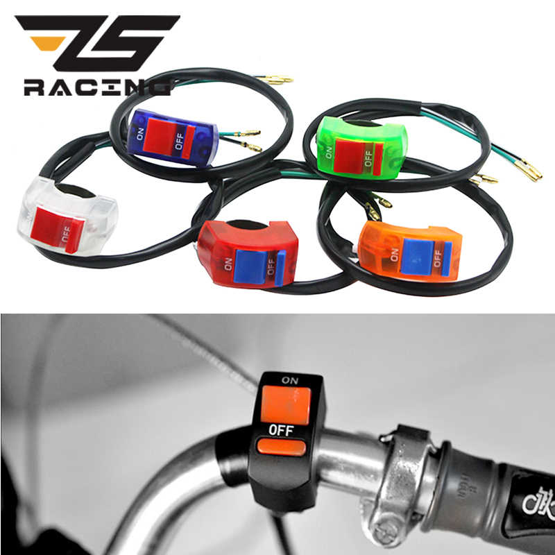 ZS Racing 6 Color ON/OFF Button Connector Push Button Switch Motorcycle Motorbike Handlebar LED Head Lamp Fog Light Switches