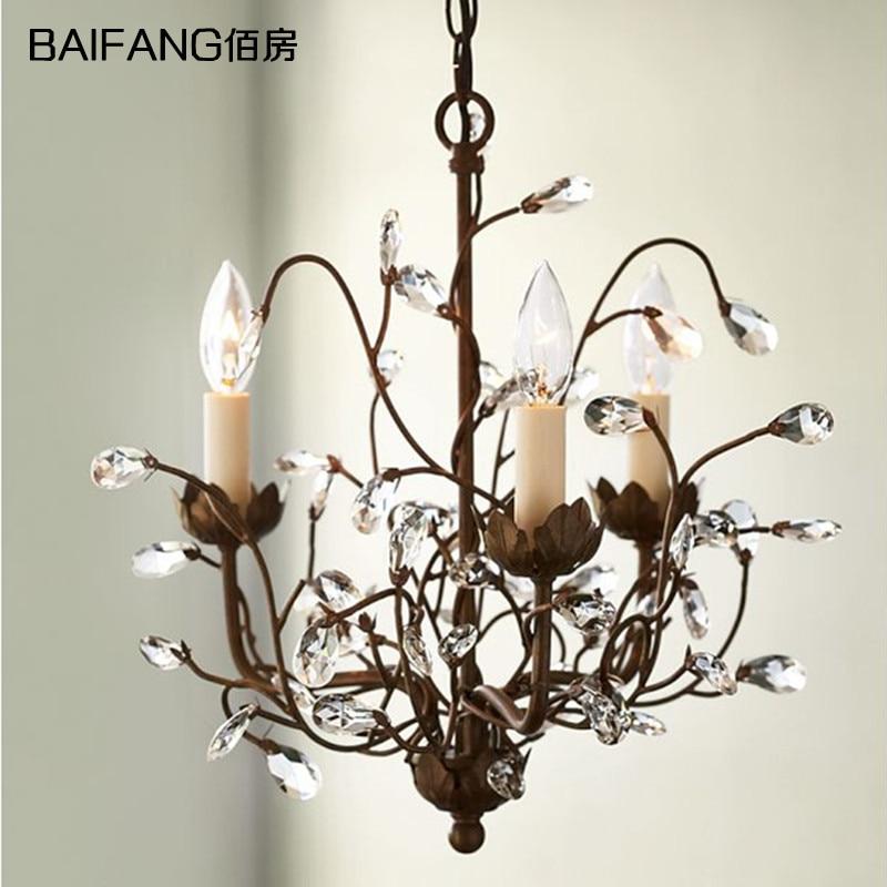 American country Mediterranean modern minimalist Antique Iron crystal chandelier dining room bar hanging light|Pendant Lights| |  - title=