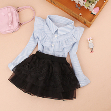 Teenage girls clothes Autumn Kids blue stripe blouses Turn-down collar Full sleeve shirt Children cotton tops School girl blouse