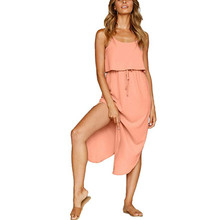 New Summer Dress Solid Color Women Lace Up Casual Dress Sleeveless Spaghetti Strap Long Sun Womens Dress Vestidos sexy spaghetti strap sleeveless solid color lace up women s cami dress