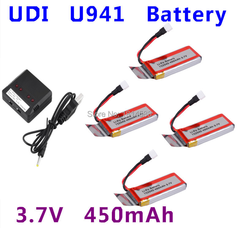 4Pcs 3.7V 450mAh Battery+1 to 4 Balance Cahrger+USB Cable for Syma X5C Hubsan H107/H107C/107D 385 Udi U941/U941A for RC Copter bs s hubsan x4 syma x5 2 to 5 balance and usb charging cable for 3 7v battery free shipping