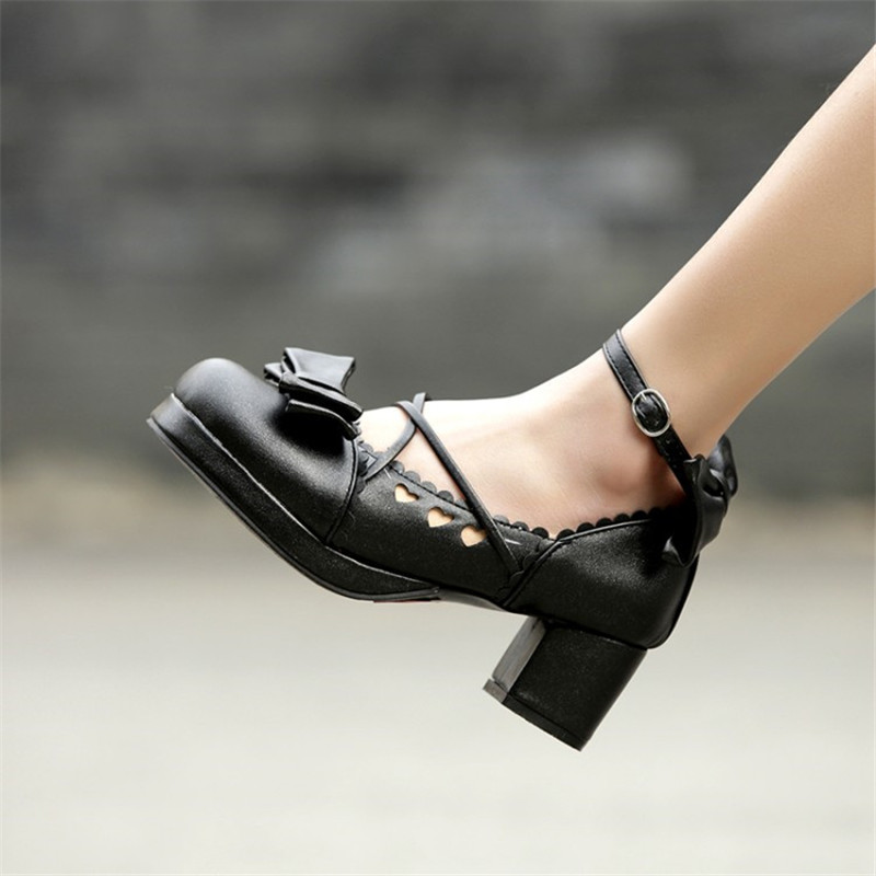 Big Size 30-48 Women Pumps Japanese Princess Lolita Shoes Sweet Bow Cross Straps High Heels Mary Janes COSPLAY Female Shoes Gold (6)