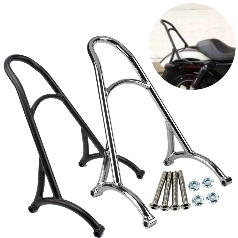цена на Black / Silver Motorcycle Bike Sissy Bar Backrest For Harley Sportster 883 1200 XL 2004-2016 2005 2006 2007 2008 2009 2010 2011