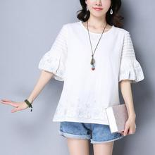 New summer women Cotton and linen t-shirt national wind short sleeves folds lanterns sleeves embroidery t shirt tops a333