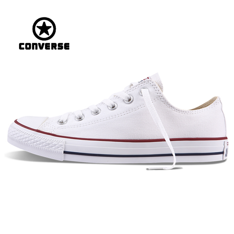 White Converse All Star Sneakers Unisex Low Top Skateboarding Shoes Anti-Slippery Rubber Sneakser Classic Canvas Converse Shoes new converse chuck taylor all star ii low men women s sneakers canvas shoes classic pure color skateboarding shoes 150149c