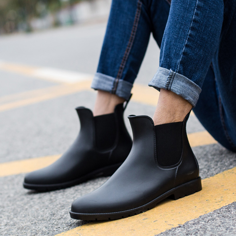 Chelsea Boots Men Rain Boots Low Gumboots  Warm  Male Low Bot Water Shoes Men Slip Bot Galoshes Fishing Boots Wellies