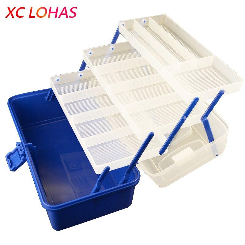 36*21*20 cm 4 Schicht ABS Große Angelgerät Box Hochwertige Kunststoffgriff Fischereikasten Karpfen angeln Werkzeuge