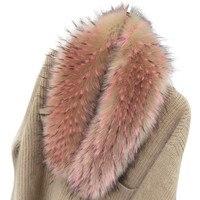 Women Fashion Faux Fox Fur Scarf Collar Shawl Winter Coat Collars Colorful Raccoon Fur Collars Scarves