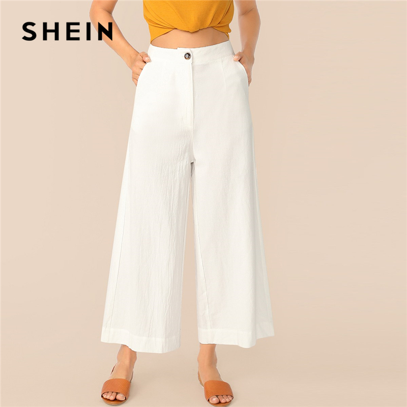 SHEIN Button Zipper Front Wide Leg Crinkle Pants Women 2019 White Solid Mid Waist Trousers Office Lady Loose Ankle-Length Pants