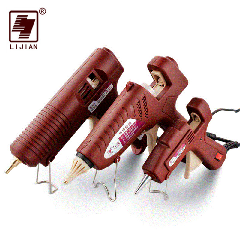 LIJIAN EU/US Plug термоклей пистолет 20 Вт, 60 Вт, 100 Вт регулируемая профессиональная Медь сопла нагреватель воска 7/11 мм Клей-карандаш