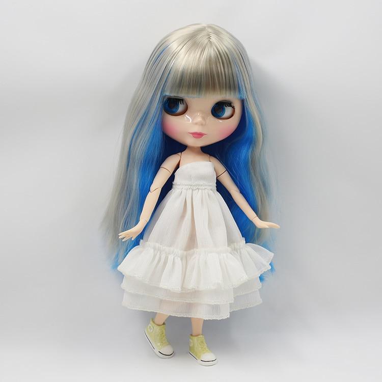 Bjd куклы обнаженная Блайт куклы DIY синий и серый челкой длинные волосы кукла совместное тела куклы для девочек подарки