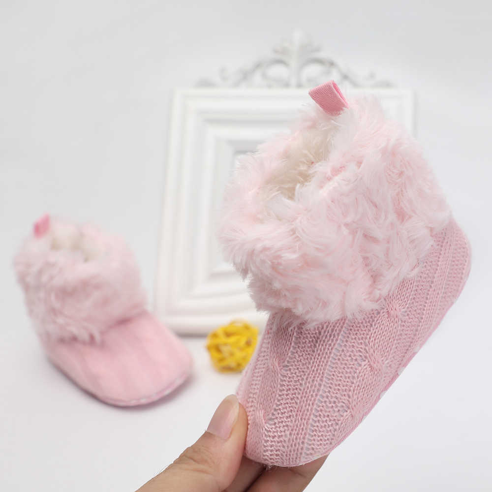 dd8e6839bbadc Winter Warm Wool Infant Baby Booties Newborn Shoes Knitted Butterfly-knot  Kids Crib Baby Moccasins For Boys Girls 0-18 Months